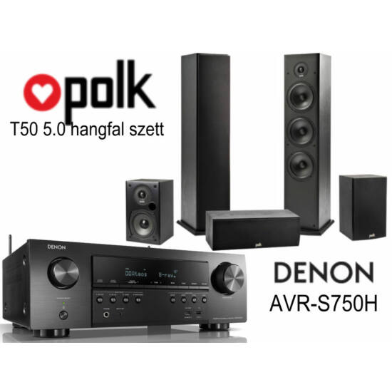 Polk Audio T50 5.0 hangfal szett + Denon AVR-S750H