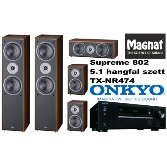 Onkyo TX-NR474 házimozi erősítő + Magnat Supreme 802 5.1 hangfal szett