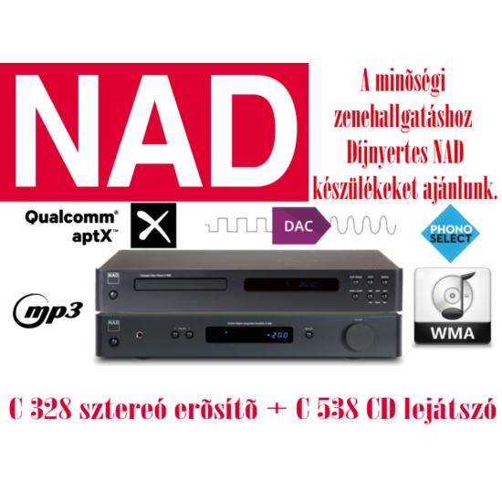 NAD C328 sztereó erősítő + C 538 CD lejátszó szett