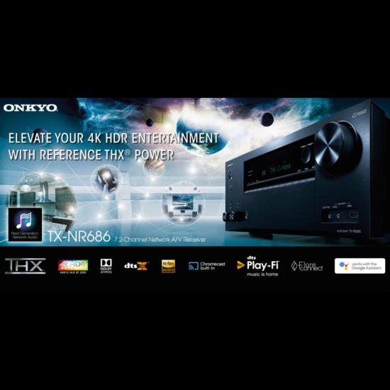 Onkyo TX-NR686 Dolby Atmos,DTS-X THX 7.2 hálózatképes AV erősítő