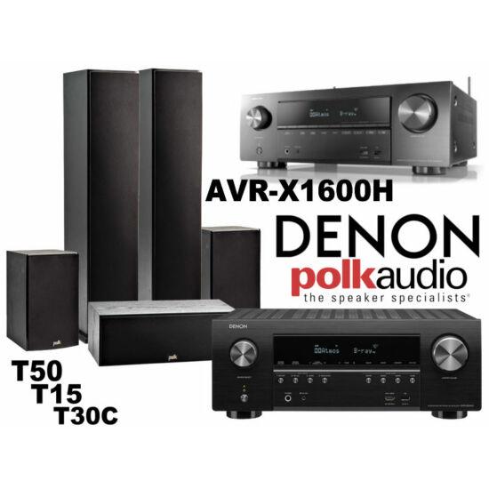 Denon AVR-X1600H + Polk Audio T50 + T15 + T30C házimozi szett